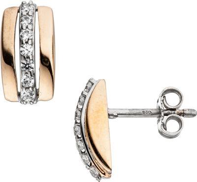 Ohrstecker 925 Sterling Silber bicolor vergoldet mit Zirkonia Ohrringe