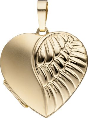 Jobo Medaillon Herz für 2 Fotos 333 Gold Gelbgo...