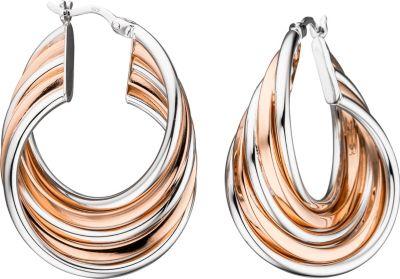 Creolen 925 Sterling Silber bicolor vergoldet Ohrringe