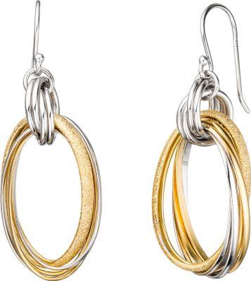 Ohrhänger oval 925 Sterling Silber bicolor vergoldet mattiert Ohrringe
