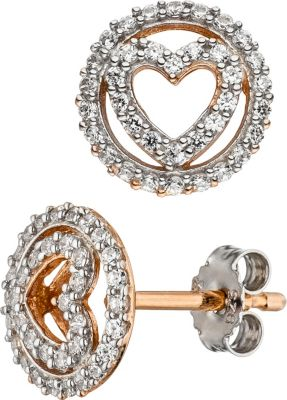 Ohrstecker Herz 925 Sterling Silber bicolor vergoldet mit Zirkonia Ohrringe