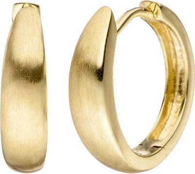 Creolen 333 Gold Gelbgold matt mattiert Ohrringe Goldcreolen Goldohrringe