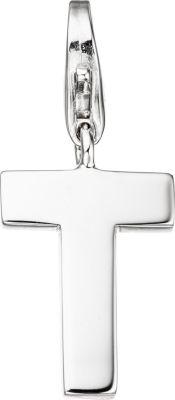 Einhänger Charm Buchstabe T 925 Sterling Silber Anhänger für Bettelarmband