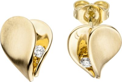 Jobo Ohrstecker Herz 585 Gold Gelbgold matt 2 Diamanten Brillante bei Plus Online Shop