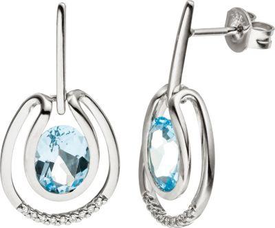 Jobo Ohrhänger 585 Weißgold 18 Diamanten Brillanten 2 Blautopase hellblau blau
