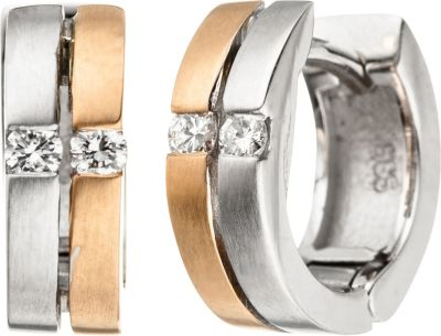 Creolen 585 Gold Weißgold Rotgold bicolor matt 4 Diamanten Brillanten Ohrringe