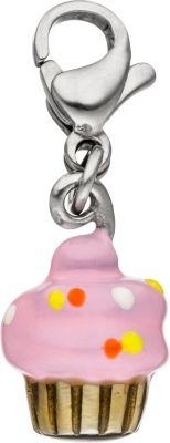 Einhänger Charm Muffin Edelstahl Anhänger für Bettelarmband rosa pink