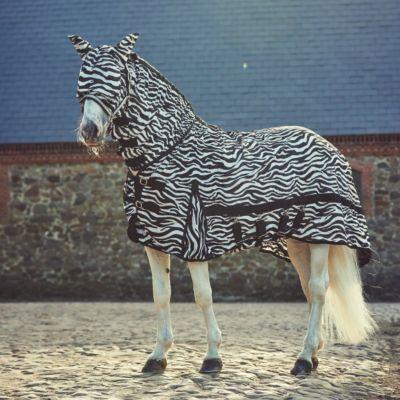 Fliegendecke Zebra mit Halsteil und Fliegenmaske - 155 cm