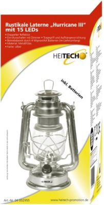 Heitech Rustikale Laterne Hurricane III mit 15 LEDs - silber