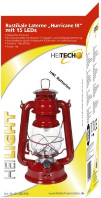 Heitech Rustikale Laterne Hurricane III mit 15 LEDs - rot