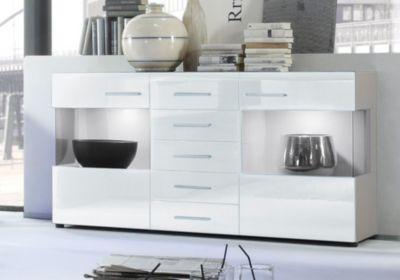 jumbo m bel sideboard lima in wei hochglanz mit grau get ntem glas inklusive beleuchtung plus de. Black Bedroom Furniture Sets. Home Design Ideas