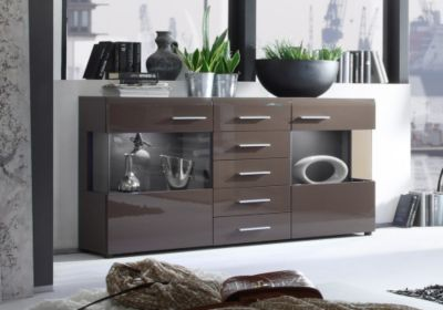 jumbo m bel sideboard lima in braun hochglanz mit braun get ntem glas inklusive beleuchtung. Black Bedroom Furniture Sets. Home Design Ideas