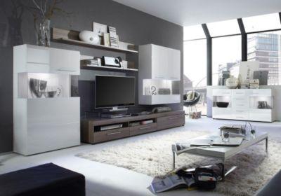 jumbo m bel wohnwand lima in braun hochglanz mit braun. Black Bedroom Furniture Sets. Home Design Ideas