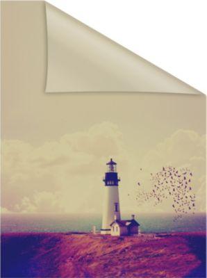 Lichtblick Fensterfolie selbstklebend, Sichtschutz, Leuchtturm - Orange Rot