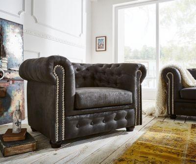 1-Sitzer Chesterfield Anthrazit 110x92 Antik Optik abgesteppt Sessel