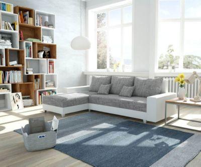 Couch Panama Hellgrau Weiss Longchair variabel Ecksofa modular