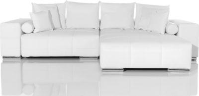 Couch Marbeya Weiss inklusive Hocker und Kissen Big-Sofa