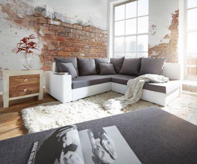 Couch Lavello Grau Weiss 210x210 cm Sofa mit Sitzhocker