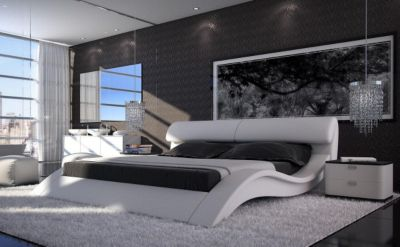 bett proud 180x200 cm weiss kopfst tze verstellbar 180cm. Black Bedroom Furniture Sets. Home Design Ideas