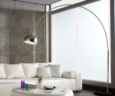 Stehleuchte Big Deal-Deluxe Silberfarben 190x220 dimmbar Bogenleuchte