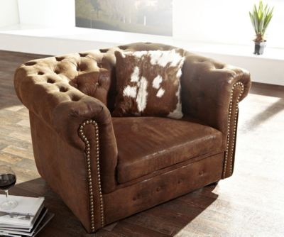 1-Sitzer Chesterfield Wildlederoptik Braun Sessel