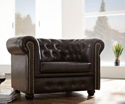 1-Sitzer Chesterfield Design Sessel abgesteppt Antikbraun Sessel