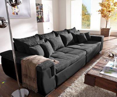 Couch Navin Schwarz 275x116 cm Sofa mit 12 Kissen