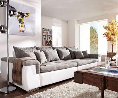Couch Navin Hellgrau Weiss 275x116 cm Sofa mit Kissen