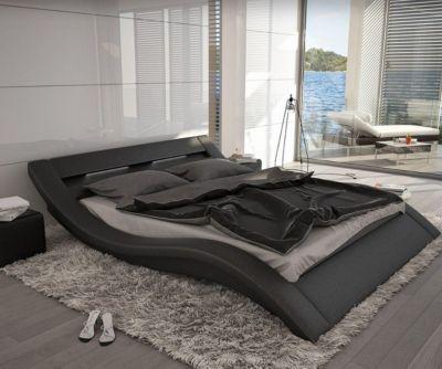 Bett Leonas Schwarz 140x200cm Design Polsterbett mit Beleuchtung