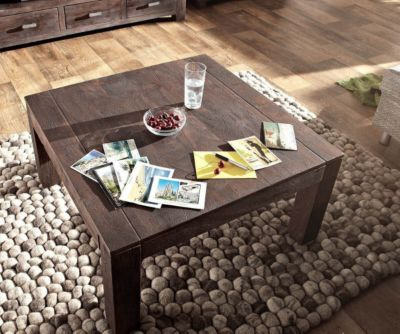Wohnzimmertisch Akazie Tabak 80x80 cm Sandbestrahlt Massivholz Couchtisch