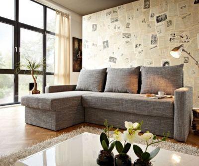 Couch Avondi Hellgrau 220x147 mit Bettkasten Ottomane variabel Ecksofa