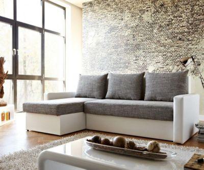 Couch Avondi Weiss Grau 220x147 Bettkasten Ottomane variabel Ecksofa