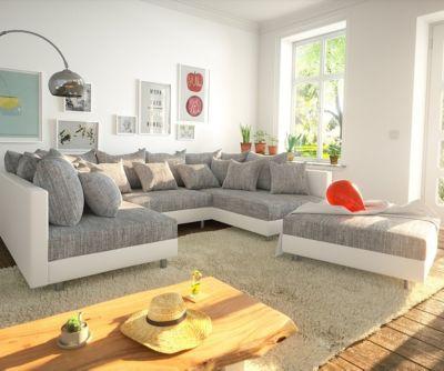 Couch Clovis Weiss Hellgrau mit Hocker Wohnlandschaft