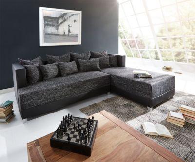 Couch Megara Schwarz 276x204 cm Ottomane Rechts Bettkasten Ecksofa