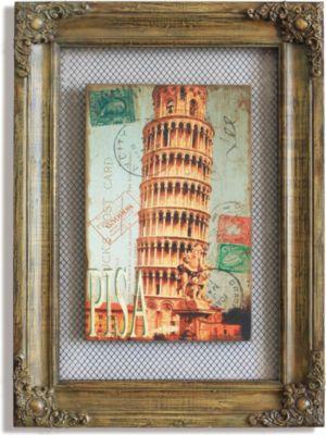 Wandbild Schiefer Turm Braun 42x58 cm Vintage Optik Wanddekoration