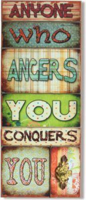 Wandbild Anyone Mehrfarbig 30x76 cm Holz Vintage Optik Wanddekoration