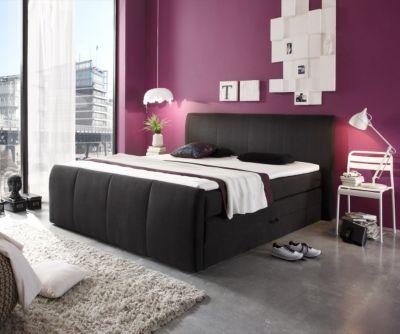 Bett Minsk Schwarz 180x200 cm mit Bettkasten Boxspringbett