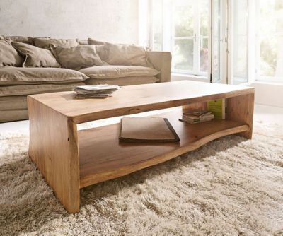 Wohnzimmertisch Live-Edge Akazie Natur 130x60 cm Baumkante Baumtisch
