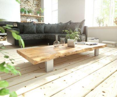 Wohnzimmertisch Live-Edge Akazie Natur 165x60 4 Metallfüße Couchtisch