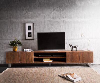 fernsehtisch-live-edge-akazie-braun-300-cm-4-turen-2-facher-baumkante-lowboard
