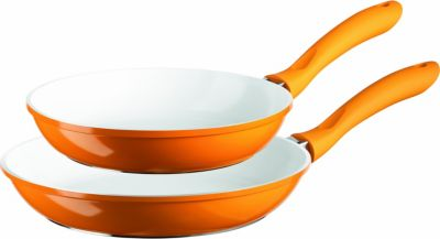 Pfannen-Set 2-tlg. antihaftbeschichtet 24cm/28cm, Aluguss 2mm, ORANGE ALIOTH