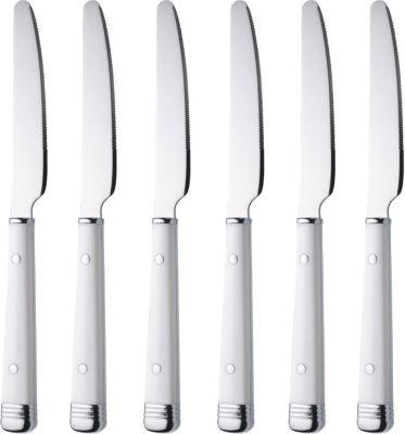 6 Stück Tafelmesser mit weißen Kunststoffgriffen, Serie BISTRO