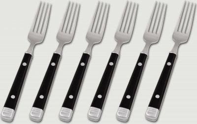 6 Stück 18/10 Kuchengabeln mit schwarzen Kunststoffgriffen, Serie BISTRO