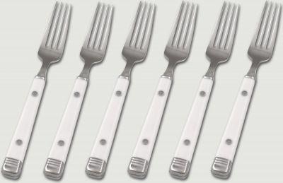 6 Stück 18/10 Kuchengabeln mit weißen Kunststoffgriffen, Serie BISTRO