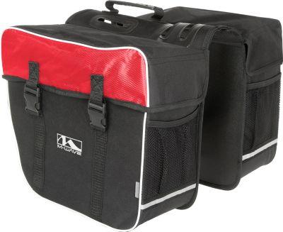 Fahrrad Gepäckträger Tasche M-Wave AMSTERDAM double 34 x 50 x 30... schwarz/rot