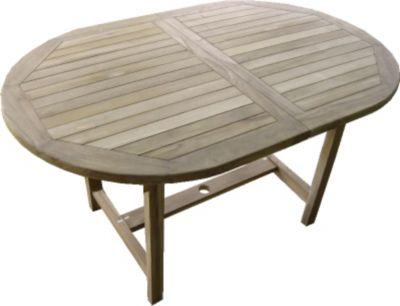 Teakholz Tisch ausziehbar Gartentisch Esstisch oval, ca. 140/200x70 cm