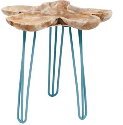 GARDENho.me Teak Wurzeltablett ca. Ø 30 cm, mit Hairpin - Beinen blau, 3 Füße, 4 Kerzenpicks | Garten > Pavillons | Teakholz | Gardenhome