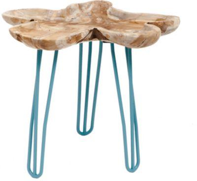 GARDENho.me Teak Wurzeltablett ca. Ø 40 cm, mit Hairpin - Beinen blau, 3 Füße, 4 Kerzenpicks | Garten > Pavillons | Teakholz | Gardenhome