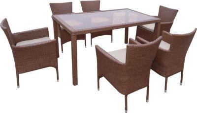 7tlg sitzgruppe kansas polyrattan essgruppe braun sessel stapelbar tisch 150 x 90 x 73 cm. Black Bedroom Furniture Sets. Home Design Ideas