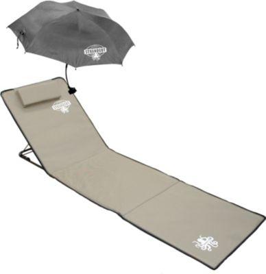 Strandmatte Strandgut07 XXL mit Schirm beige verstellb. Rückenteil Isomatte Picknickdecke